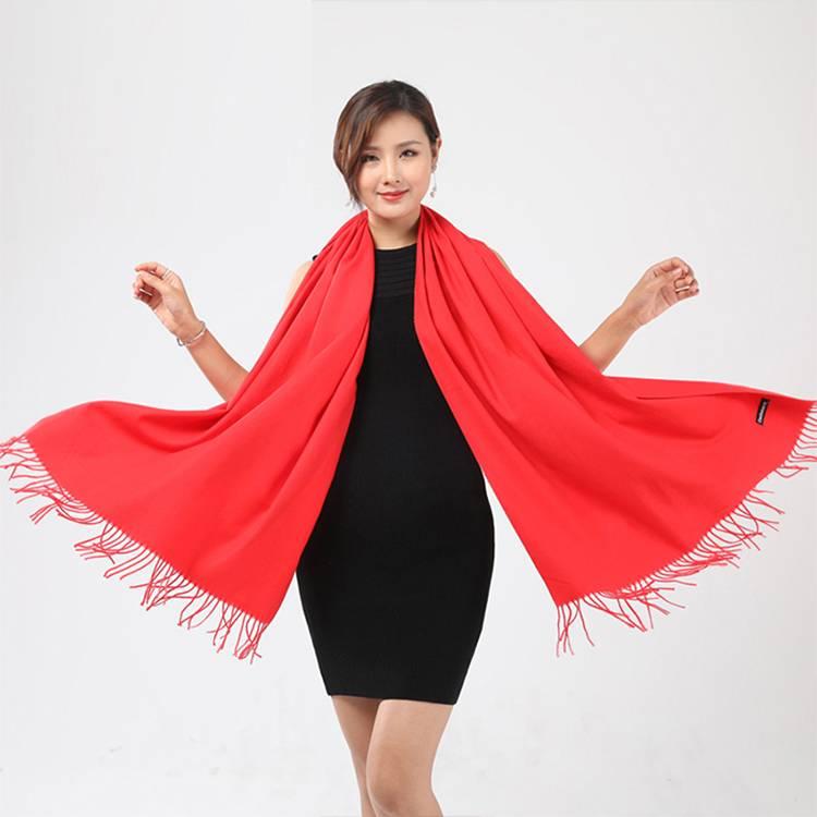 宽版红围巾