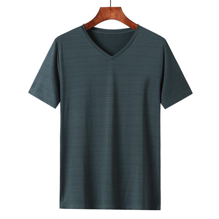 水晶条V领短袖T恤